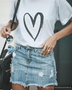 Coração Amor Impressão Mulher Tshirt Designer de Verão de Manga Curta Magliette Pano Solto Moda Casual Donna Tees