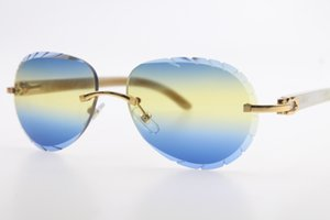 도매 무료 상자에 새겨진 파란색 선글라스 핫 3,524,016 무테 화이트 화이트 정품 혼 선글라스 남여 운전 라운드 안경 출시