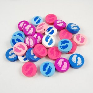 200Pcs 20mm 7 Colors 2 Face Footprint Round Slip Wooden Beads Colorful Charms Jewelry Accessories for Necklace Bracelet DIY Making Wholesale
