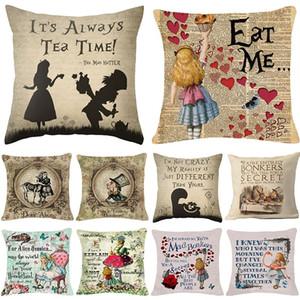 Cartone animato Piazza Cuscino Federe Lino Coprire Cuscino Lettera Stampa Decorativa per la casa Divano Gettare Pillow Case Bambini Cartoon regalo Lino Cuscino