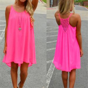 14 Renk Kadınlar plaj elbise floresan kadın yaz elbise şifon vual Acısını kemer elbiseler seksi Bayan Giyim artı boyutu