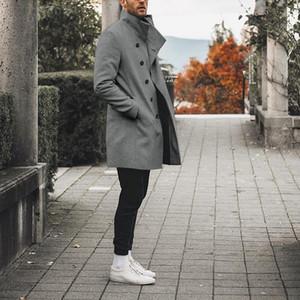 Classique d'hiver Slim Trench haute qualité Manteau Hommes Automne Trench homme solide à long coupe-vent Vintage Blends Manteaux