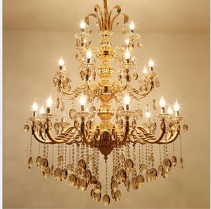 موردن 3 طبقات 24 الأسلحة سبيكة ذهبية كبيرة كريستال الثريا سبيكة ذهبية فخمة D110cm الأوروبي الثريا الحديثة كريستال الثريا
