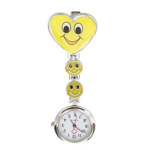 Yellow Heart Shape Quartz Movement Nurse Brooch Fob Tunic Pocket Watch