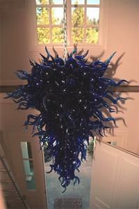Atacado Pingente de vidro Luz Fonte de Luz LED Indoor Ceiling Art Deco Lamp Chandelier com Chihuly Estilo Azul Dale