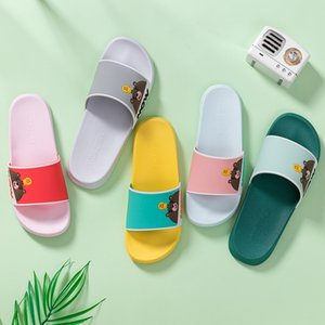 Indoor Couple TZLDN PVC 2020 Hotel Sandals & Women Cute Bear Summer Non-slip Bathroom Home Slippers wholesale