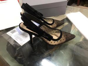 sandalias de gasa 2020 europea y americana atractiva diseñadores de moda zapatos de tacón alto para mujer de proa puntiaguda versátil zapatos solo con la caja y la bolsa para polvo