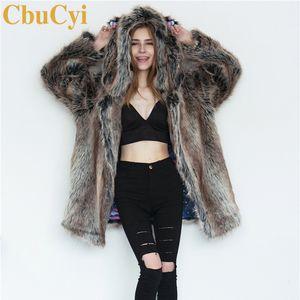 CbuCyi Moda Inverno Roupas Femininas Longas Jaquetas Casacos de Orelha Animal Com Capuz Faux Fur Coat Feminino Quente Grosso Casaco Plus Size