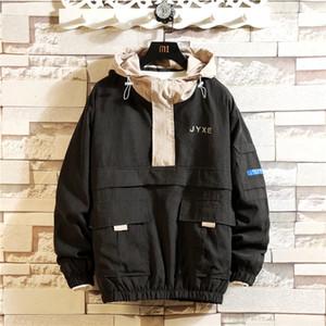 Hombres chaqueta de la capa de protección solar Ropa casual para hombre Chaquetas Tops con capucha impresa letra de la solapa de Negro rompevientos Streetwear
