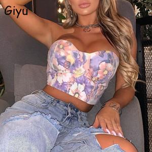 Giyu Sexy Vintage imprimé Floral Gilet Chemisier Femmes 2020 Summer Club Casual épaules dos nu manches Tops Chemises Crop
