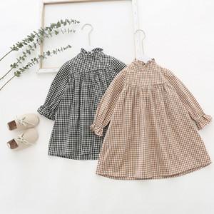 Primavera Queda menina caçoa a roupa elegante vestido manga comprida Fique Collar Design Manta Vestidos elegante