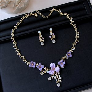 Romantic Gold Bridal Jewelry 2 Pieces Sets Necklace Earrings Bridal Jewelry Bridal Accessories Wedding Jewelry T219150