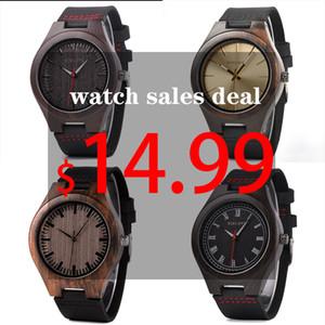 Bobo Bird Classic Round Black Ebony Wood Relojes para hombres Reloj de cuarzo de cuero en oferta de venta