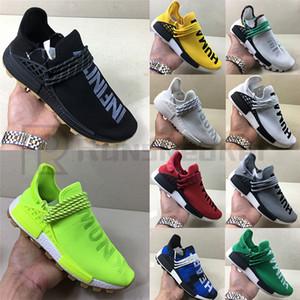 2020 alta calidad NMD humana Muestra Raza Amarilla Core negro Formadores Pharrell Williams R1 Bred gris primeknit de los zapatos corrientes Deportes