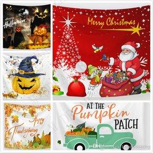 76 Disegni Arazzo di Santa Zucca Deer arazzo per Coperta Ognissanti Giorno del Ringraziamento Decorazione natalizia Picnic Divano Partito coperchio Sfondo