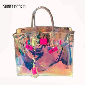 SUNNY BEACH transparent Hologram Laser Messenger Bag Femmes Rose Jelly Sac à bandoulière Femme Harajuku Big Tote fille sacs à main Bolsas