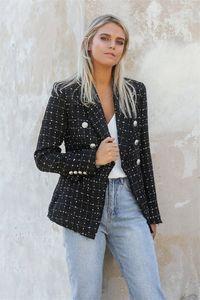 Womens Designer Luxury Slim Blazers Plaid imprimé Womnens Lapel Neck Veste Costume Femme avec double boutonnage