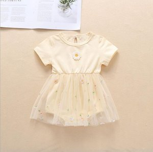2020 new best-selling summer baby cute embroidery small chrysanthemum mesh skirt baby girl triangle creeper baby romper