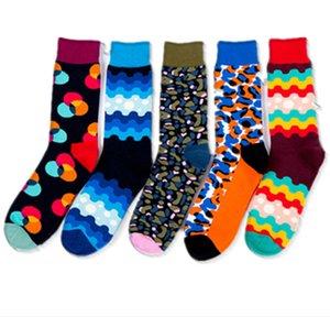 Mode Kreis, Wellenlinien, Leoparddruck, bunter Muster Baumwollsocken, Mann beiläufige Art und Weise Socken, hohe Qualität, Herbst-Winter-Socken