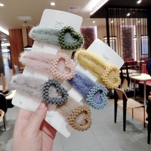 Clipes Coreia do inverno suave Plush amor do coração do cabelo Acessório Faux Rabbit Fur Waterdrop Hairpin Cabelo Para Lady Mulheres Cabelo Barrettes