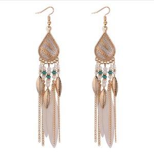 Orecchino di piume di Boemia per donna Gioielli di moda Perline Nappa Orecchini lunghi Orecchini pendenti Dream Catcher
