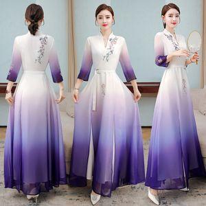 Aodai Floral Print Wedding Party Dress Women Chinese Style Cheongsam 3 4 Sleeve purple elegant Robe Qipao Chiffon Korean gown
