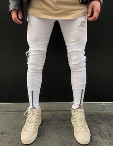 Nouveau Genou Fold Trou Zipper Jeans Hommes De Mode Moto Coton Jeans Pantalons Trous Haut Grade Dropshipping Vente Chaude Pantalon