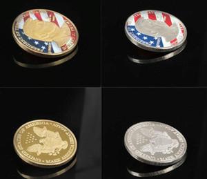 Moedas americanas 45º presidente Donald Trump Moeda Comemorativa presidente dos Estados Unidos Avatar ouro prata de metal Artesanato Colecção de Token