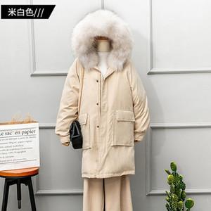 Addensare piume Raccoon capelli giù Giacca bianca pelliccia di inverno del collare rivestimento delle donne lunghe allentate Parka Sezione piuma cappotto Ls181