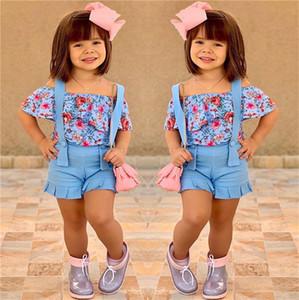 여름 아기 소녀 복장 꽃은 어깨 꽃 T 셔츠의 평상복 비치 정장 E22603를 + 스트랩 반바지 2 개 조각 의류 세트 어린이 탑