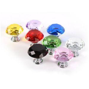 Professionnel Coloré 30mm Diamant Conception De Cristal De Verre Boutons De Porte En Verre Armoire À Tiroirs Armoire Armoire Tirer Poignée Boutons LX4277