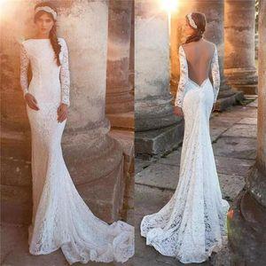 Элегантные белые полные кружева русалка свадебные платья драгоценные шеи с длинным рукавом Свернуть сквозь заднюю свадебное платье разведка поезд халат де Марие