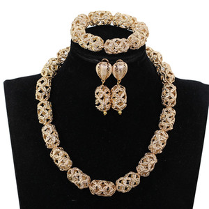 Hollow Gold Beads African Wedding Beads Collana di gioielli Set Chunky Collana di dichiarazione Set Dubai Set di gioielli da sposa P84-9
