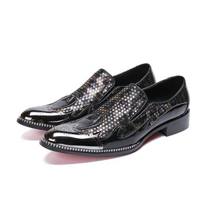 Fashion men business dress shoes slip-on pointed toe carved Bullock oxford for men falt party office shoes
