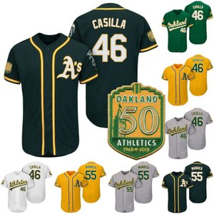 # 46 Santiago Casilla remendo Jersey 50th Anniversary 55 Sean Manaea 100% Lady Womens Mens costurado juventude caçoa Baseball Jerseys