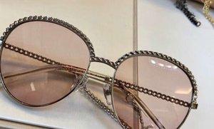 Cadeia de óculos Chain 4242 Óculos de sol Óculos de sol mulheres Sol Sun Round Shades Novo com Caixa Kgulp