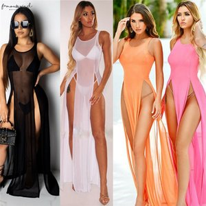 Sexy Womens Mesh Sheer Long Dress Ladies Bikini Cover Up Beach Sundress Solid See Through Long Dress Sleeveless Strap Dress
