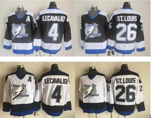 Футболки в стиле ретро Tampa Bay Lightning Hockey 26 Мартин Сент-Луис 4 Винсен Лекавалье Черный Джерси Винтаж СКК Сшитые рубашки Патч