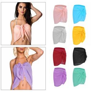 Sexy Traje de baño Beachwear de las mujeres mini vestido del traje de baño Vestido de tirantes Trajes blusa de verano de la playa de la cubierta del bikini UPD gasa abrigo de la bufanda