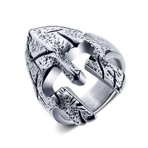 mens für Edelstahl Titanium Spartan Helmet Punk Maske Bänder Ringe Herren Ring Splitter Schmuck für Geschenke