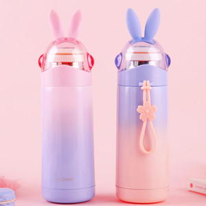Student Girl Water Bottle 350ml Rabbit Cap Sport Water Bottles Stainless Steel Insulated Vucuum Mug with Rope