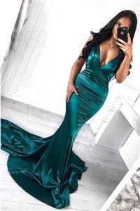 2019 Long Prom Evening Dresses Deep V Neck Long Sleeves Floor Length Mermaid Party Dress Formal Evening Gowns Custom Made