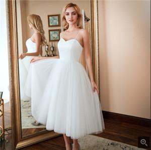 Robe de mariage uma linha de cetim branco tule cintas de espaguete vestido de noiva chá comprimento curto meninas informal petite vestidos de casamento best selling