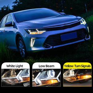 2pcs Car Styling 55V LED farol para Toyota Camry 2015 2016 2017 Novo Camry Faróis drl Lens duplo feixe H7 HID Xenon