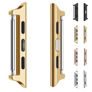 Adaptateur en acier inoxydable lien pour iWatch Série 1 2 3 4 Compatible avec 44mm d'Apple montre 38mm 40mm 42mm Sport Fermoir matériel Connecteur