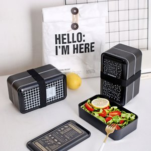 ELEG-Lunch Box Double-Layer Portable Bento Box Food Container Storage With Spoons Compartments Leak Proof Microwavable