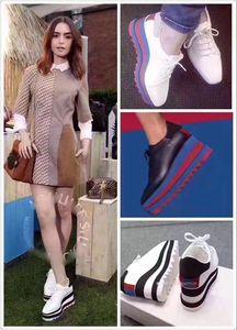 2019 Heißer Verkauf! Stella Mccartney Schuhe Top Qualitäts-echtes Leder-Frauen arbeiten Plattform-Keil-Plattform Oxfords Erhöhung Turnschuhe 44F4