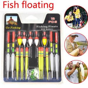 1 Set (15pcs) Vertical Sea Buoy Pêche Flotteurs Taille assorties pour la plupart des types de pêche à la ligne de poissons d'aquarium Attraper