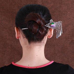 2019 Yeni Çin Kültürü Antik Saç Sopa Kadınlar Zarif Tenha Orkide Bobby Peacock Pin Moda Firkete Püskül Saç Sopa C19010501