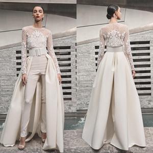 2019 elegante praia vestidos de casamento macacões com destacável saia de cetim trem de varredura namorada país vestidos de noiva com jaqueta de manga longa